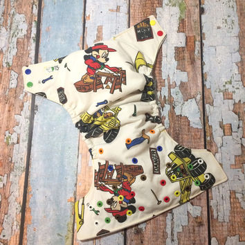 Semi-Custom Mickey Mouse Construction OS Cloth Diaper