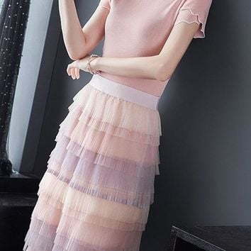 Knit Top and Tiered Skirt Set