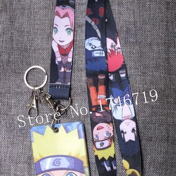 Naruto Sasauke ninja New 1 pcs Japanese anime  Named Card Holder Identity Badge with Lanyard  Neck Strap Card Bus ID Holders With Key Chain T-2 AT_81_8