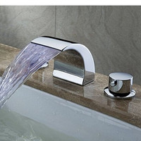 Deck Mount Double Handles Led Waterfall Contemporary Widespread Bathroom Sink Faucet Chrome Finish Led Water Flow Powered Temperature Sensitive Shower Faucets