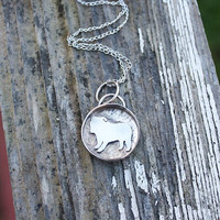 English Bulldog Necklace, locket style, pendant