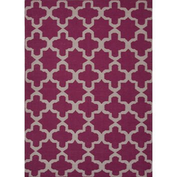 Jaipur Rugs FlatWeave Geometric Pattern Pink/Ivory Wool Area Rug MR58 (Rectangle)