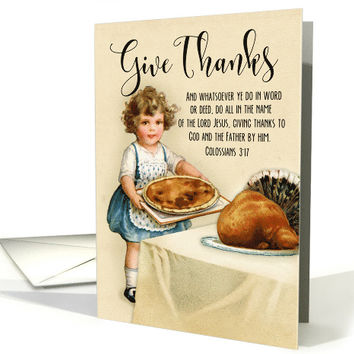 Little Girl with Pie and Turkey for Vintage Thanksgiving card