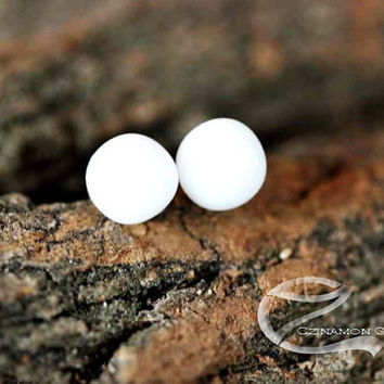 White studs, Tiny stud earrings, White Fused Glass Stud Earrings, small stud earrings