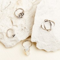 Good Vibes Silver Ring Set