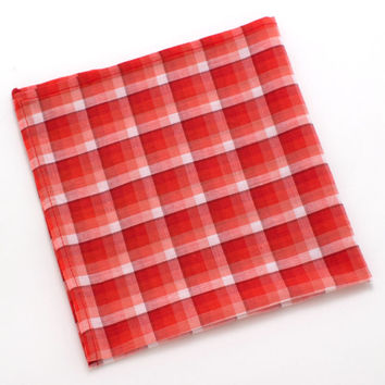 1940s Vermillion Shadow Plaid Pocket Square