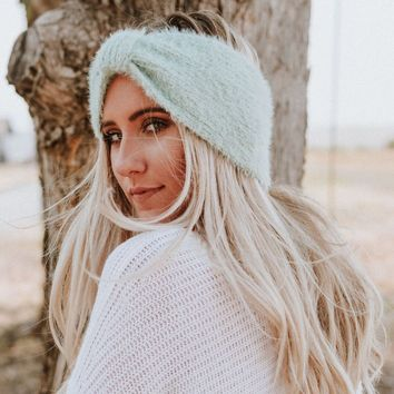 Tahoe Fuzzy Ear Warmer Headband - Mint
