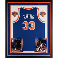 Patrick Ewing New York Knicks Fanatics Authentic Deluxe Framed Autographed Blue Adidas Jersey with HOF 08 Inscription - Limited Edition of 33