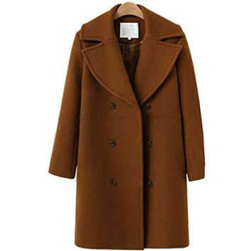 LIYT Women's Loose Wool-Blend Trench Long Sections Coat Autumn Winter Warm Peacoat Overcoat