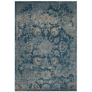 Cynara Distressed Floral Persian Medallion 5x8 Area Rug Silver Blue, Teal and B