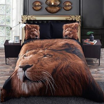 Golden Lion Head 3D Printed Polyester Luxury 4-Piece Bedding Sets
