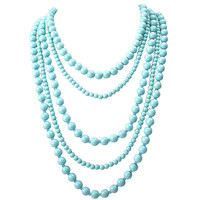 Multi Layers Beaded Turquoise Bib Necklace
