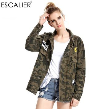 Vogue Spring Parkas Jackets Women Army Green Camouflage Military Embroidered Jackets Women Coats Autumn