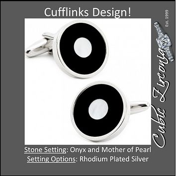 Men's Cufflinks- Black/White Onyx and Mother of Pearl Bullseyes