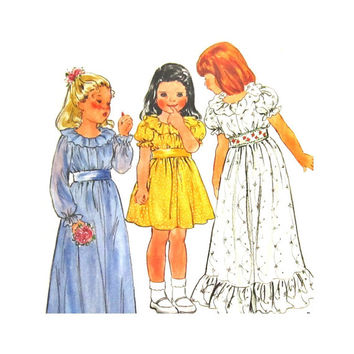 Butterick 3119 Uncut Pattern Girls Ruffled Dress or Gown Size 6 Flower Girl Dress