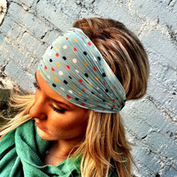 Confetti Stretchy Chiffon Headband Blue Polka Dot by ThreeBirdNest