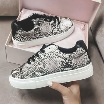 Inside Out Beige Snake Platform Sneakers