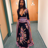 Black Plunging African Maxi Dress