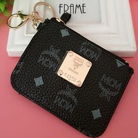 """""""MCM"""" Trending Stylish Multicolor Leather Card Pack Card Bag Card Zipper Mini Thin Card Package Zero Wallet Black I12551-1"""