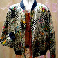 VINTAGE BOMBER JACKET 1980s style, silky fabric