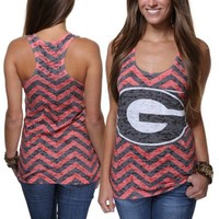 Georgia Bulldogs Ladies Chevron Racerback Tank Top - Red