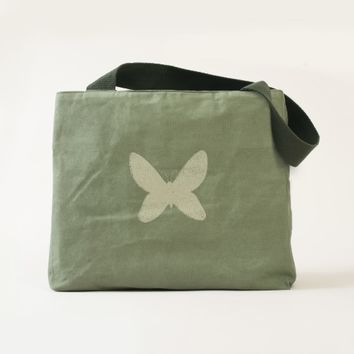 Canvas Utility Tote with butterfly