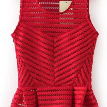 Red Sleeveless Cut-Out Striped Peplum Top