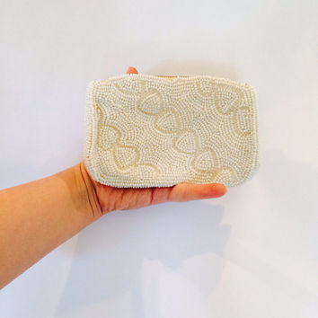 Vintage Beaded Clutch // Cream Great Gatsby Style Clutch