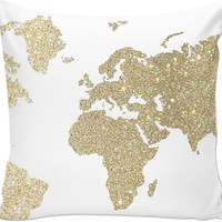 Gold glitter map throw pillow