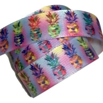 "Rainbow pineapple printed 7/8"" grosgrain ribbon"