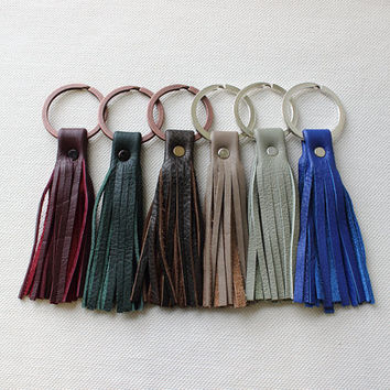 Leather Tassel Keychain / Leather Keyring / Unique Key Chains [Adela Key Chain]