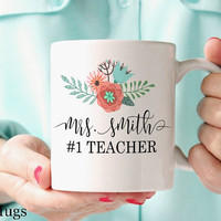 Teacher Mug, Personalized Coffee Mug, Custom Name Mugs, Gift for Teachers, Personalized Gift, Pretty Floral Mug, Teacher Gift, Tea Mug (T11)