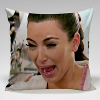 kim kardhasian crying face Square Pillow Case Custom Zippered Pillow Case one side and two side