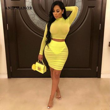 ANJAMANOR See Through Mesh Yellow Sexy 2 Piece Set Women Dress Club Outfits Two Piece Skirt and Crop Top Matching Sets D89-AA74