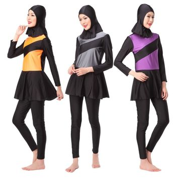 Full Coverage Modest Muslim Swimwear Three Pieces Islamic Swimsuit For Women Arab Beach Wear Girl's Hijab Bathing Clothing