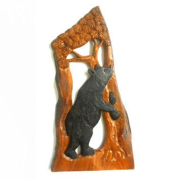 "Handmade Natural Teak Wood Carving Bear Animal Art Hand Driftwood Carved Home Hanging Wall Hanging Decor 22.5""X12"""