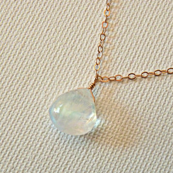 Rainbow moonstone and rose gold necklace - moonstone jewelry - simple drop necklace - jewelry for the office