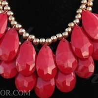 Red Necklace Two Layer Teardrop Necklace Statement Necklace Bib Necklace