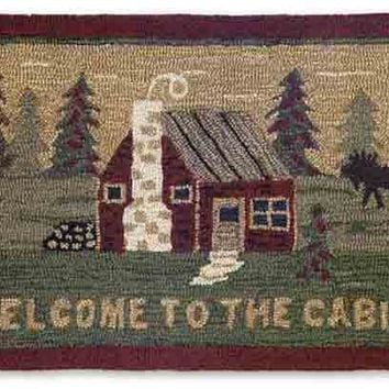 """Welcome to the Cabin"" Hooked Wool Accent Rug -- 24"" x 36"""