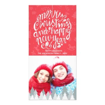Merry Christmas and Happy New Year Greeting Photo Card