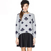 Poker Printed  Asymmetric Long Sleeves Knitted Sweater