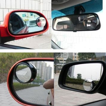 Wide Angle Round Convex Blind Spot Mirror Rear View Messaging Car Vehicle the black