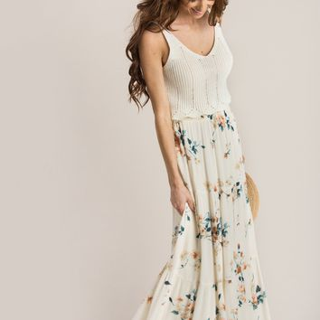 Rosie Cream Floral Maxi Skirt