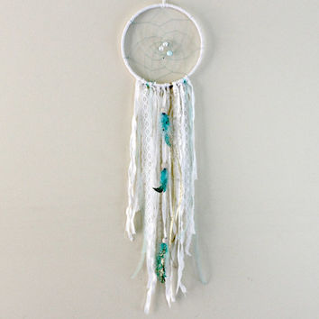 Mint and Gold Dreamcatcher, White Dream Catcher, Gold Feather Decor, Boho Chic, Nursery Dreamcatcher, Mint Nursery Decor, White Mint & Gold