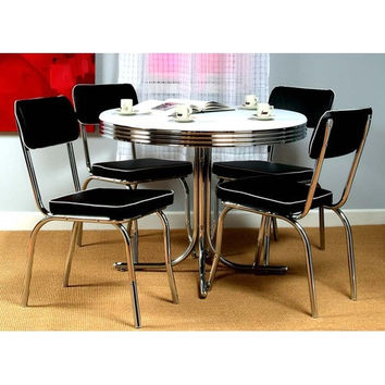 5 Piece Retro Dining Set with Round Table and 4 Chairs