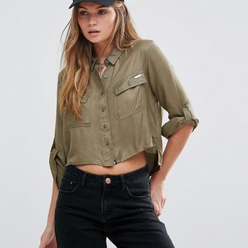 Superdry Amalfi Cropped Shirt In Khaki at asos.com