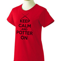 Keep Calm and Potter On Ladies Cut T Shirt - Wizard Shirt