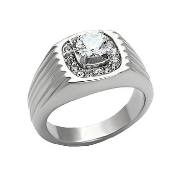 Paramount - Men's Stainless Steel High Polished CZ Statement Ring