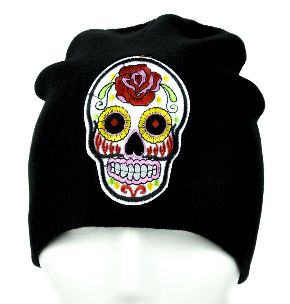 8b7f72827db White Sugar Skull Beanie Day of the Dead from Dysfunctional Doll