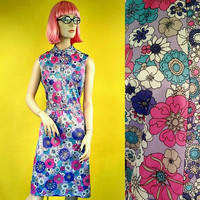 Vintage 60's Floral Sleeveless Midi Dress Hippie Colorful Pinup Style MOD, Hippy, Flowers, Statement Piece, Costume, Print